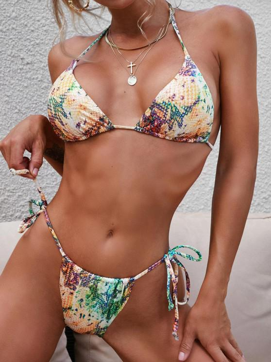 best ZAFUL Convertible Glossy Coated Snakeskin Leopard String Bikini Swimwear - DEEP YELLOW L
