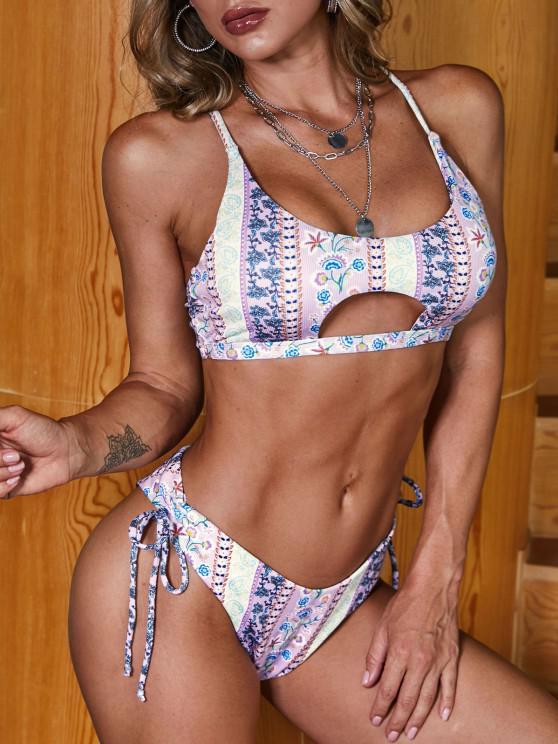 ZAFUL Ribbed Paisley Printed Cinched Lace Up Bikini Swimwear - ضوء ارجواني S