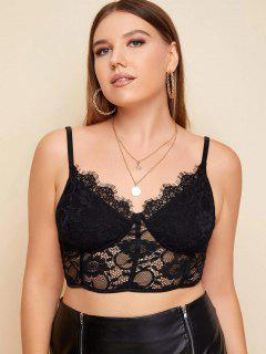 Scalloped Trim Eyelash Lace Plus Size Bralette - Black L