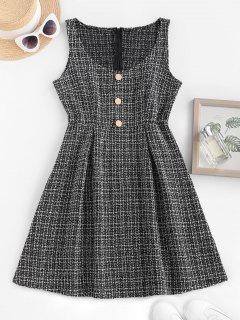 Metallic Buttons Plaid Tweed Pinafore Dress - Black Xs