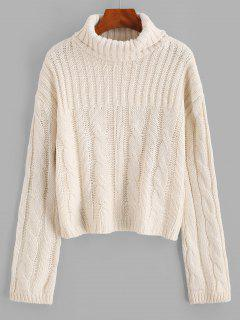 Solid Funnel Neck Cable Knit Sweater - White