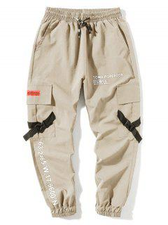 Letter Print Flap Pockets Cargo Jogger Pants - Apricot L