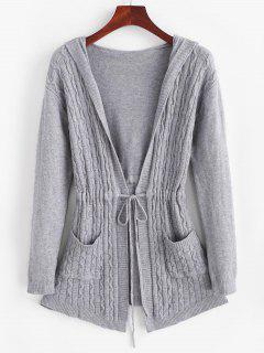 Drawstring Dual Pocket Cable Knit Cardigan - Light Gray