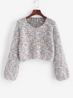 Fuzzy Heathered Boucle Knit Cropped Sweater - Multi