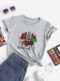 Marled Christmas Tree Car Print Tee - Light Gray M