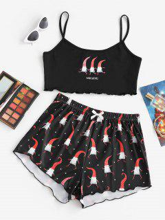Conjunto Dos Piezas Estampado Estrella Lounge Navidad - Negro Xl