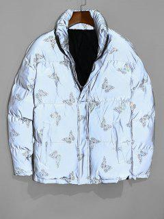 Reflective Butterfly Print Puffer Jacket - Twilight Gold 3xl