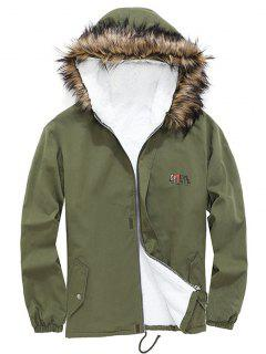 Detachable Faux Fur Cateye Plush-lined Hooded Jacket - Army Green L