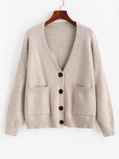Button Up Heathered Dual Pocket Cardigan - Coffee