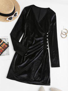 Surplice Velvet Loop Button Slit Ruched Dress - Black S