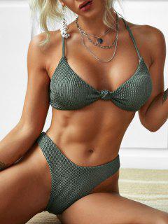 ZAFUL Crisscross Front Knot Bikini Swimwear - Light Green S