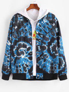 Tie Dye Swirl Print Snap Button Jacket - Blue M