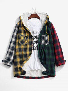 Colorblock Plaid Pocket Fluffy Hooded Shirt Jacket - Yellow S
