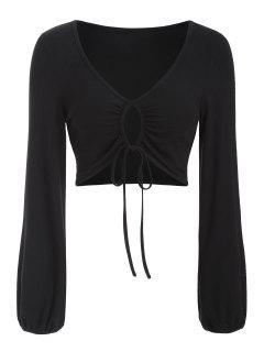 ZAFUL Ribbed Keyhole Drawstring Crop T Shirt - Black Xl