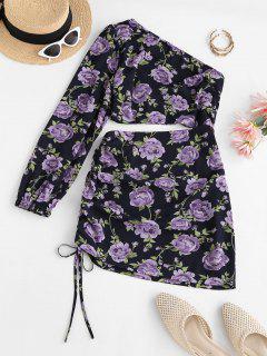 ZAFUL Flower One Shoulder Cutout Cinched Bodycon Dress - Black L