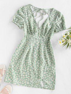 ZAFUL Daisy Floral Cutout Tie Slit Dress - Light Green M