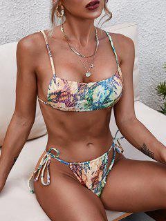 ZAFUL Disco Snakeskin Glossy Coated Tanga Bikini Swimwear - Deep Yellow L