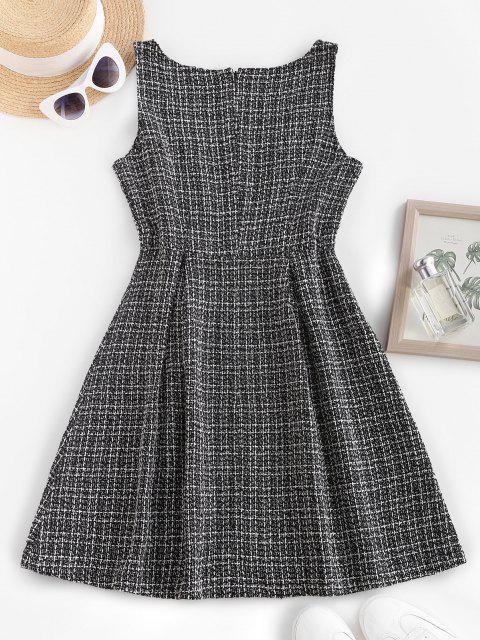 Metallische Knöpfe Kariertes Tweed Pinafore Kleid - Schwarz S Mobile