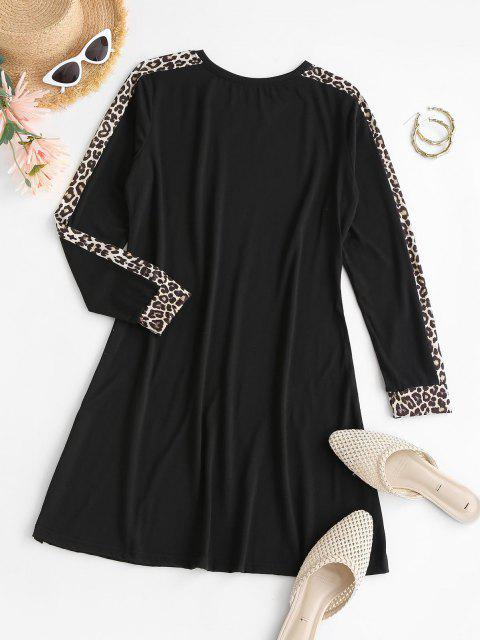 buy Leopard Insert Mini T Shirt Dress - BLACK S Mobile