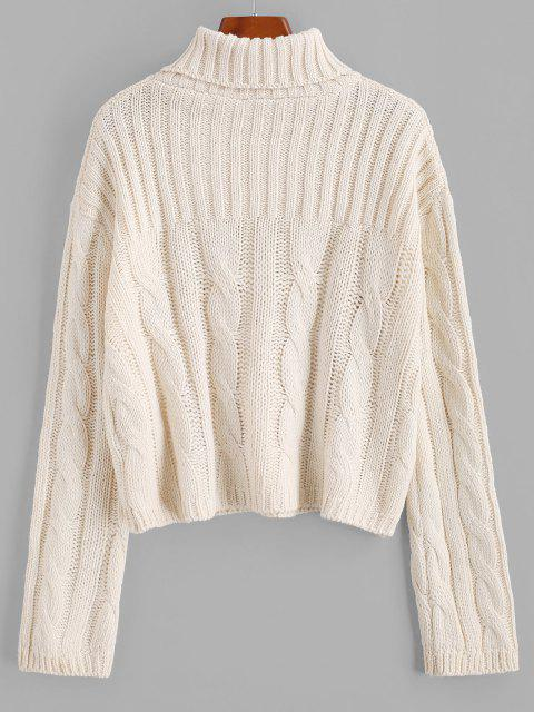 ladies Solid Funnel Neck Cable Knit Sweater - WHITE ONE SIZE Mobile