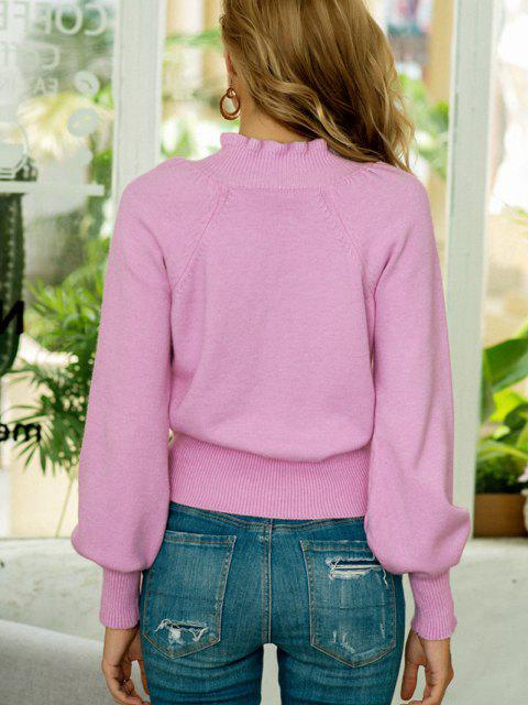outfits Solid Ruffled Trim Balloon Sleeve Sweater - LIGHT PURPLE ONE SIZE Mobile