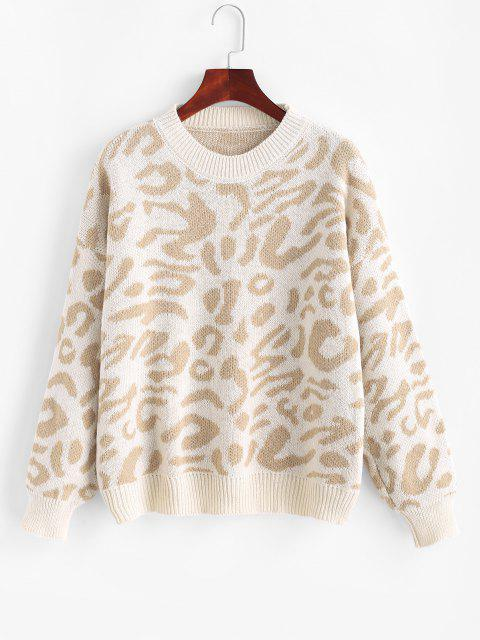 outfits Drop Shoulder Crew Neck Leopard Sweater - LIGHT COFFEE ONE SIZE Mobile