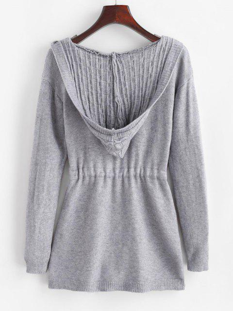 fancy Drawstring Dual Pocket Cable Knit Cardigan - LIGHT GRAY ONE SIZE Mobile