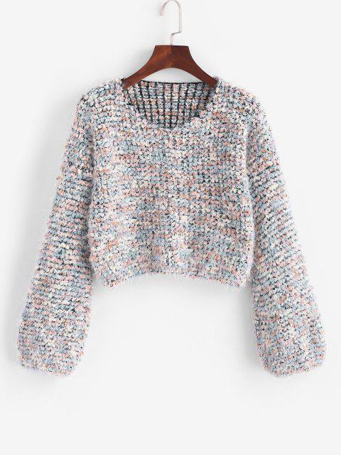 ladies Fuzzy Heathered Boucle Knit Cropped Sweater - MULTI ONE SIZE Mobile
