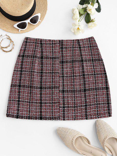 womens Plaid Tweed Mini Skirt - MULTI L Mobile