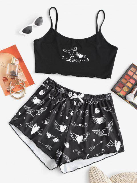 Valentine Strawberry Heart Rose Two Piece Set - أسود S Mobile