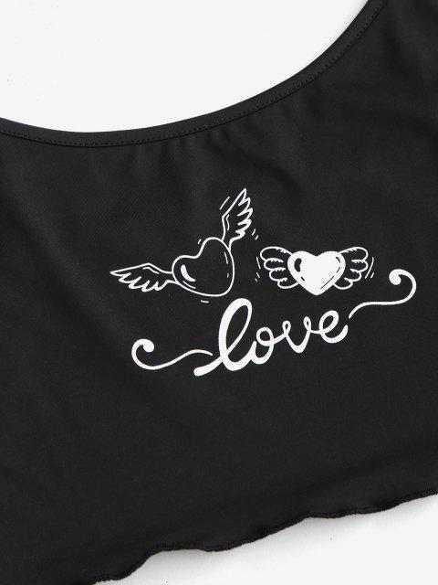 trendy Valentine Strawberry Heart Rose Two Piece Set - BLACK L Mobile