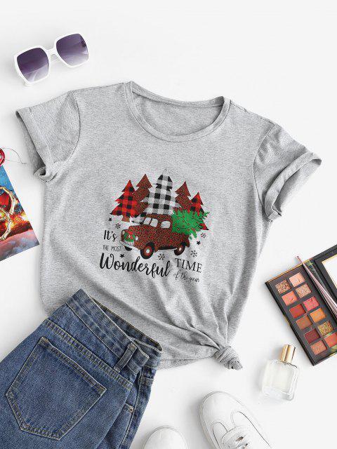 trendy Marled Christmas Tree Car Print Tee - LIGHT GRAY S Mobile