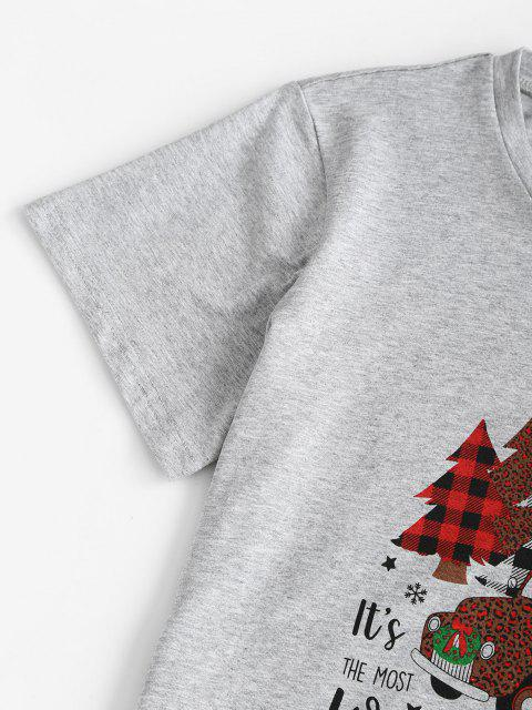 unique Marled Christmas Tree Car Print Tee - LIGHT GRAY M Mobile