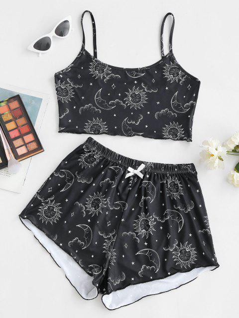 shops Astrology Sun Moon Print Lettuce-trim Two Piece Set - BLACK XL Mobile