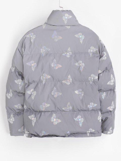shop Reflective Butterfly Print Puffer Jacket - TWILIGHT GOLD 3XL Mobile
