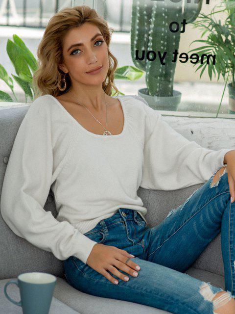 ラグラン袖リブ付きトリムスクープセーター - 白 ワンサイズ Mobile