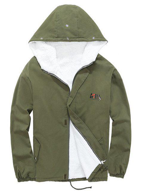 women Detachable Faux Fur Cateye Plush-lined Hooded Jacket - ARMY GREEN M Mobile