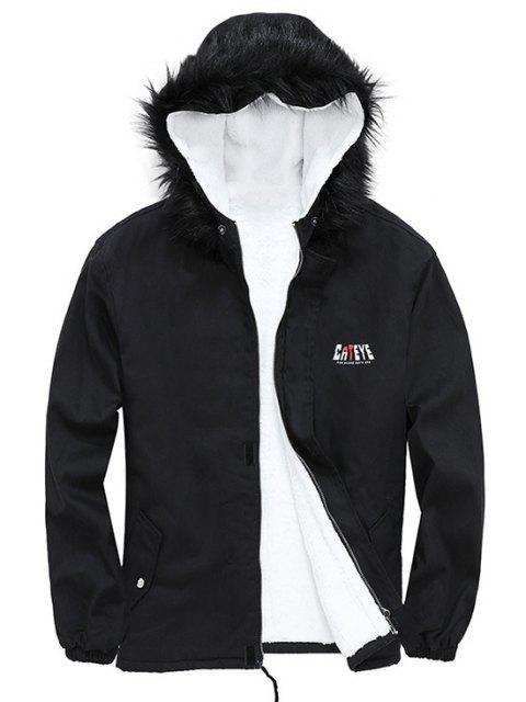 ladies Detachable Faux Fur Cateye Plush-lined Hooded Jacket - BLACK L Mobile