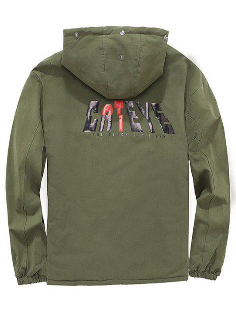 shop Detachable Faux Fur Cateye Plush-lined Hooded Jacket - ARMY GREEN 2XL Mobile
