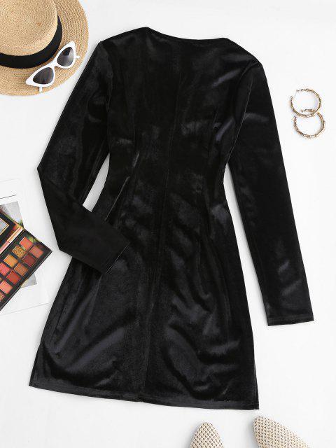 women Surplice Velvet Loop Button Slit Ruched Dress - BLACK L Mobile