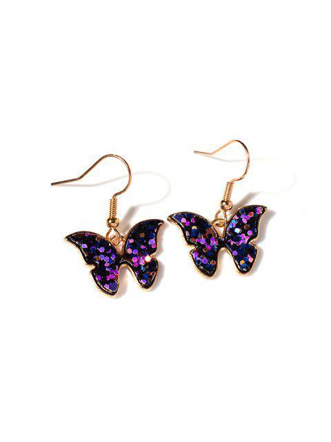 Schmetterlings-Pailletten Fallen Ohrringe - Lila  Mobile