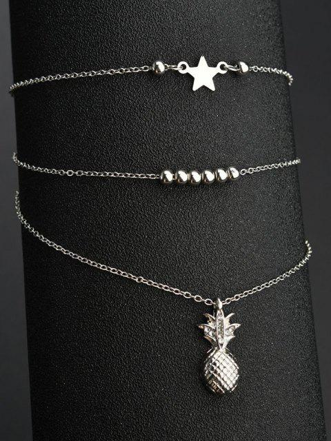 new 2Pcs Star Pineapple Beads Layered Anklet Set - SILVER  Mobile