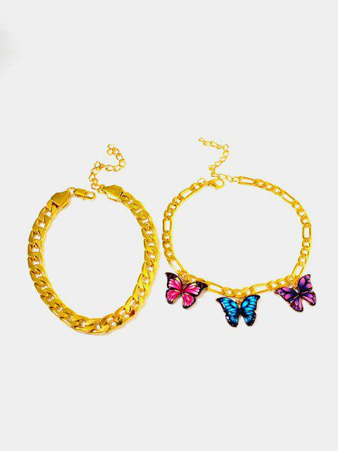 outfit 2Pcs Butterfly Pendant Chain Anklet Set - GOLDEN  Mobile