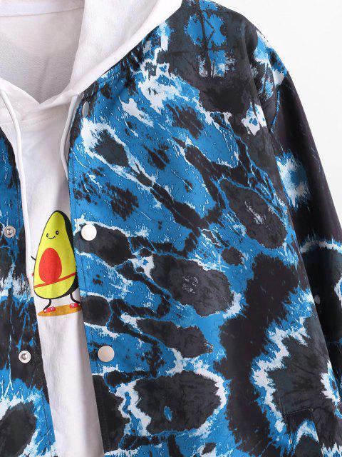 Veste Teintée Tourbillon Imprimée avec Bouton Pression - Bleu XL Mobile