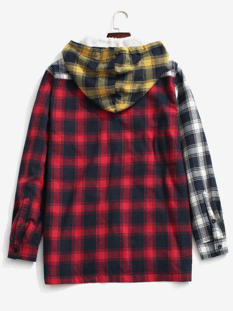shops Colorblock Plaid Pocket Fluffy Hooded Shirt Jacket - YELLOW S Mobile