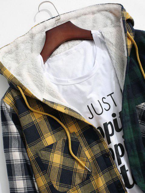 Veste à Capuche à Carreaux en Blocs de Couleurs avec Poche - Jaune 2XL Mobile