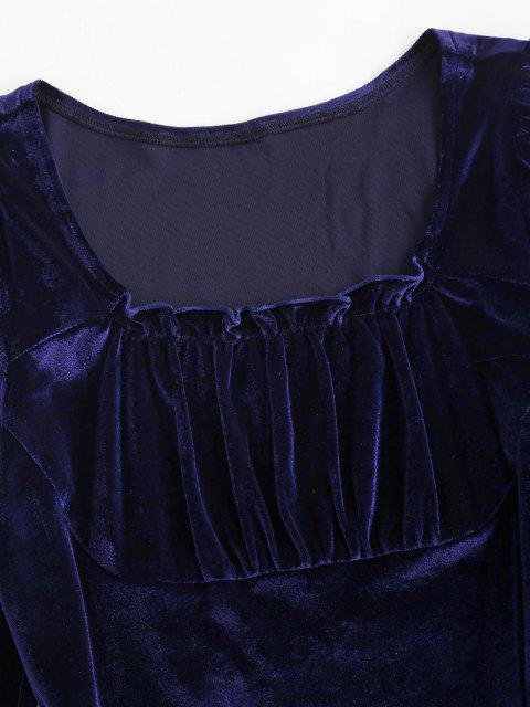 Vestido Terciopelo Fruncido Manga Larga - Azul Profundo L Mobile