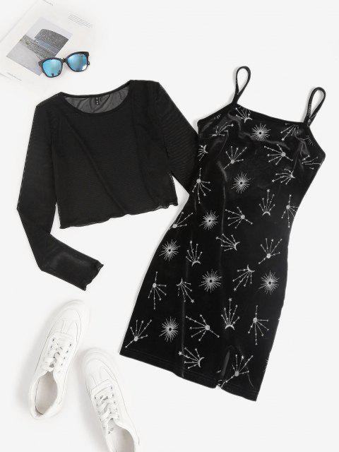 affordable Glitter Star Velvet Cami Dress with Mesh Top Set - BLACK M Mobile