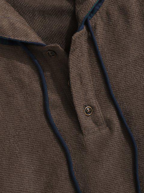 womens Plaid Print Quarter Button Hoodie - DEEP COFFEE L Mobile