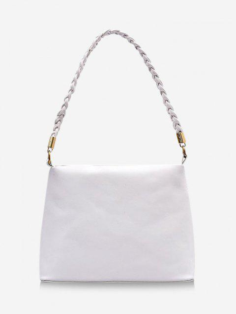 latest Braided Strap Square Solid Handbag - MILK WHITE  Mobile